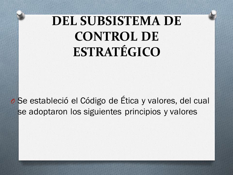 DEL SUBSISTEMA DE CONTROL DE ESTRATÉGICO