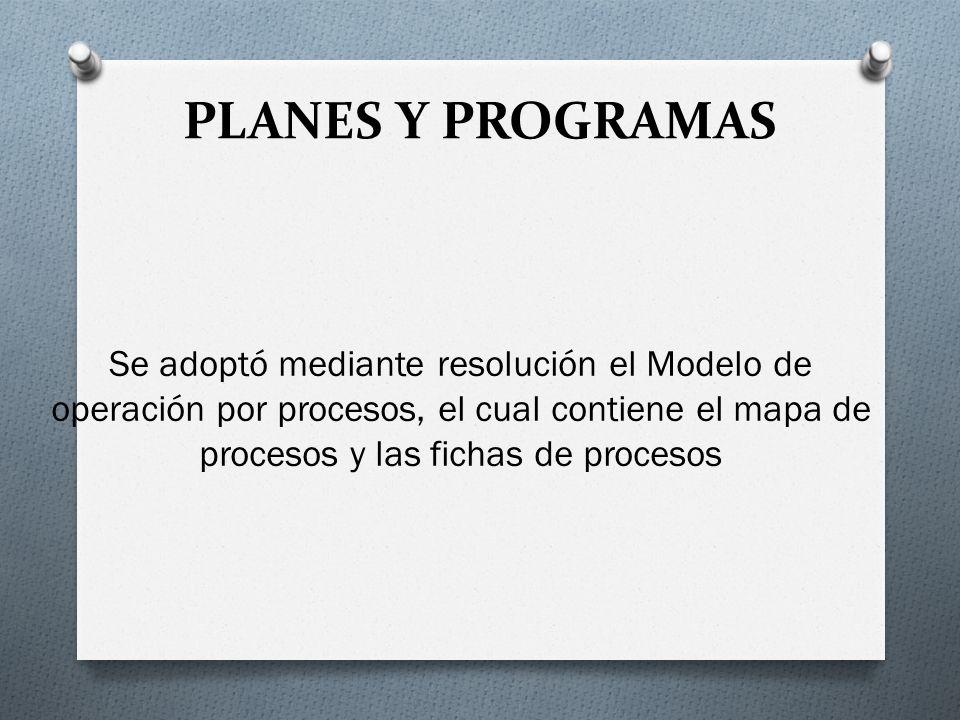 PLANES Y PROGRAMAS Se adoptó mediante resolución el Modelo de operación por procesos, el cual contiene el mapa de procesos y las fichas de procesos.