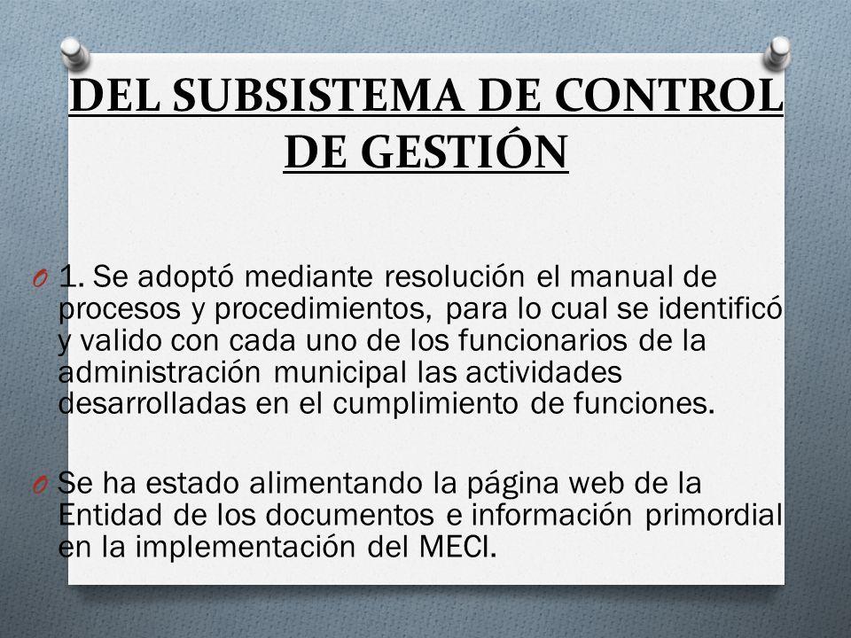 DEL SUBSISTEMA DE CONTROL DE GESTIÓN