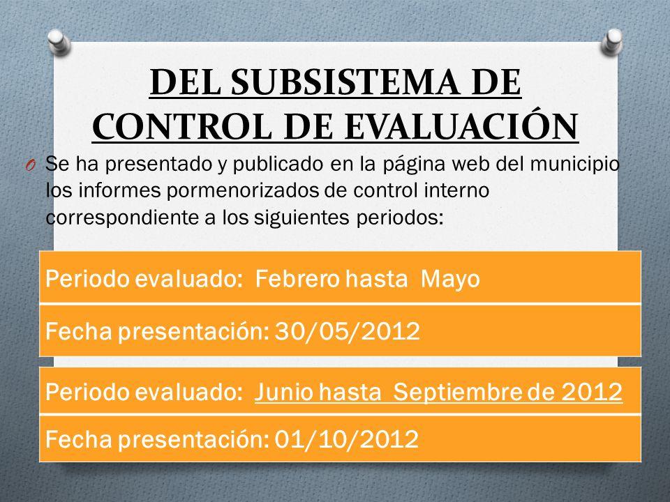 DEL SUBSISTEMA DE CONTROL DE EVALUACIÓN
