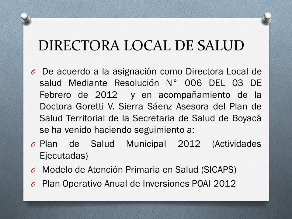 DIRECTORA LOCAL DE SALUD