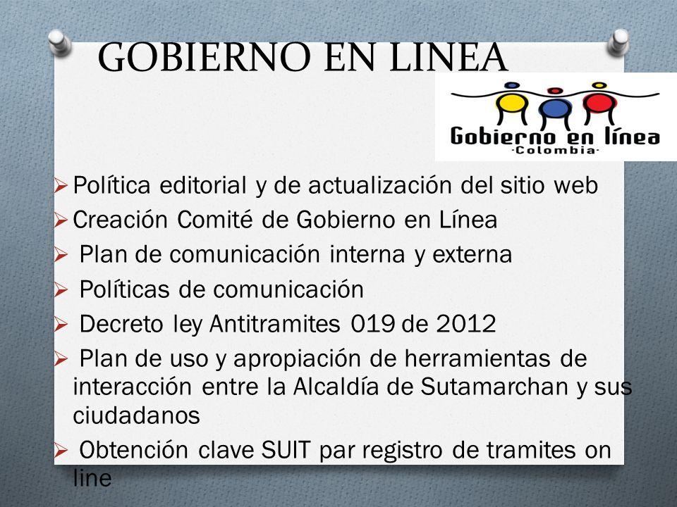 GOBIERNO EN LINEA Política editorial y de actualización del sitio web