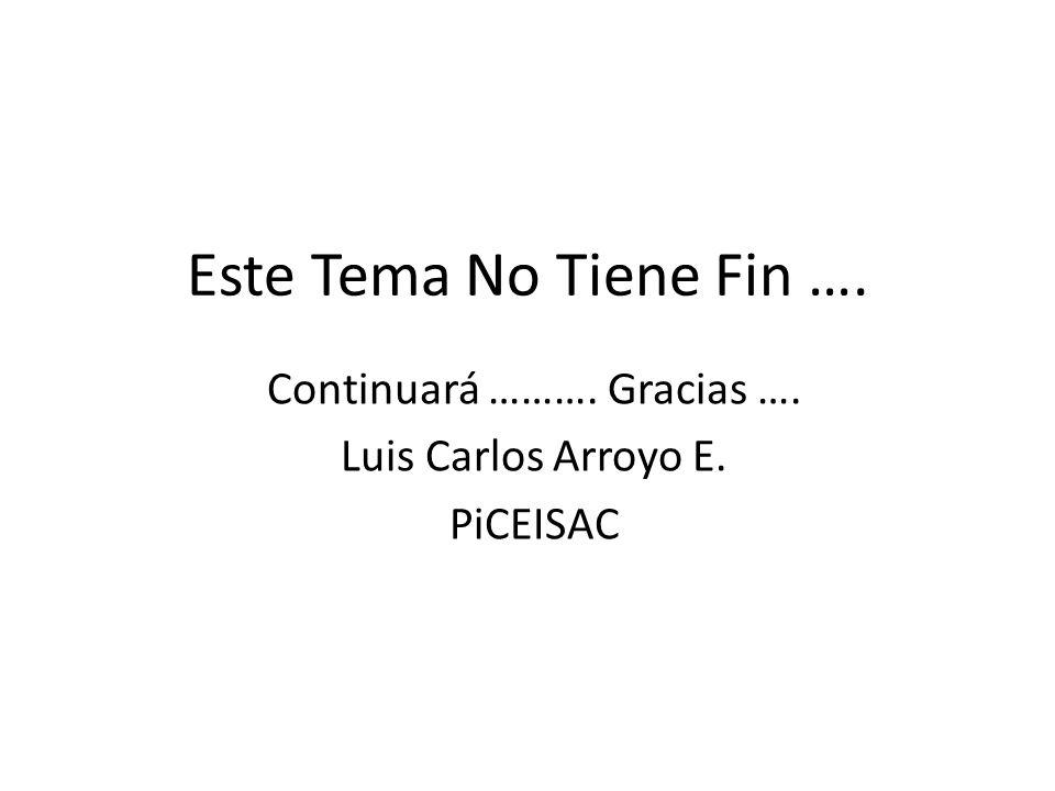 Continuará ………. Gracias …. Luis Carlos Arroyo E. PiCEISAC