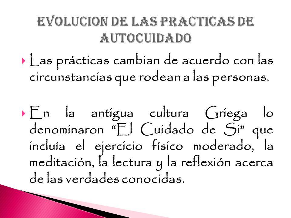 EVOLUCION DE LAS PRACTICAS DE AUTOCUIDADO