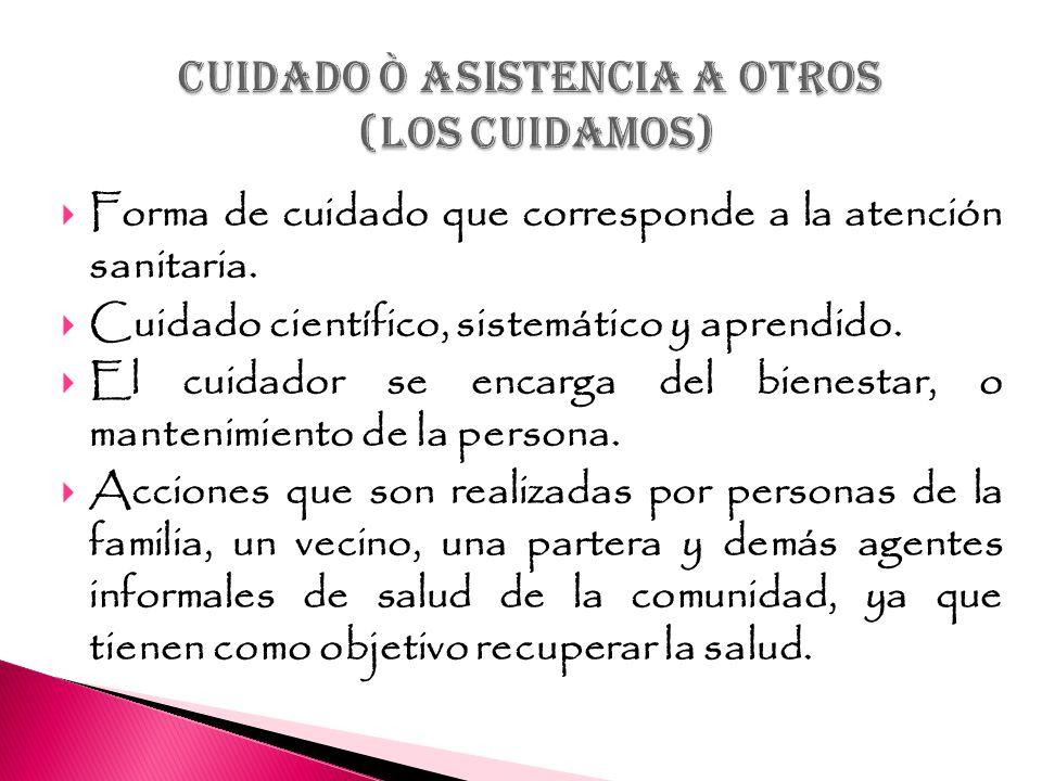 CUIDADO ò ASISTENCIA A OTROS (LOS CUIDAMOS)