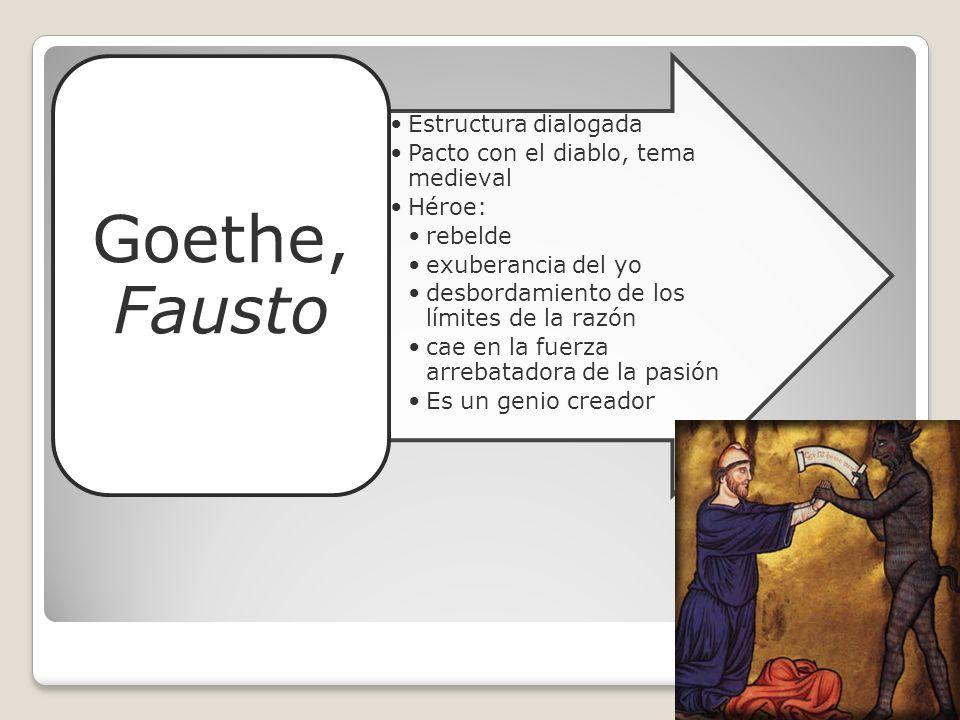 Goethe, Fausto Estructura dialogada. Pacto con el diablo, tema medieval. Héroe: rebelde. exuberancia del yo.