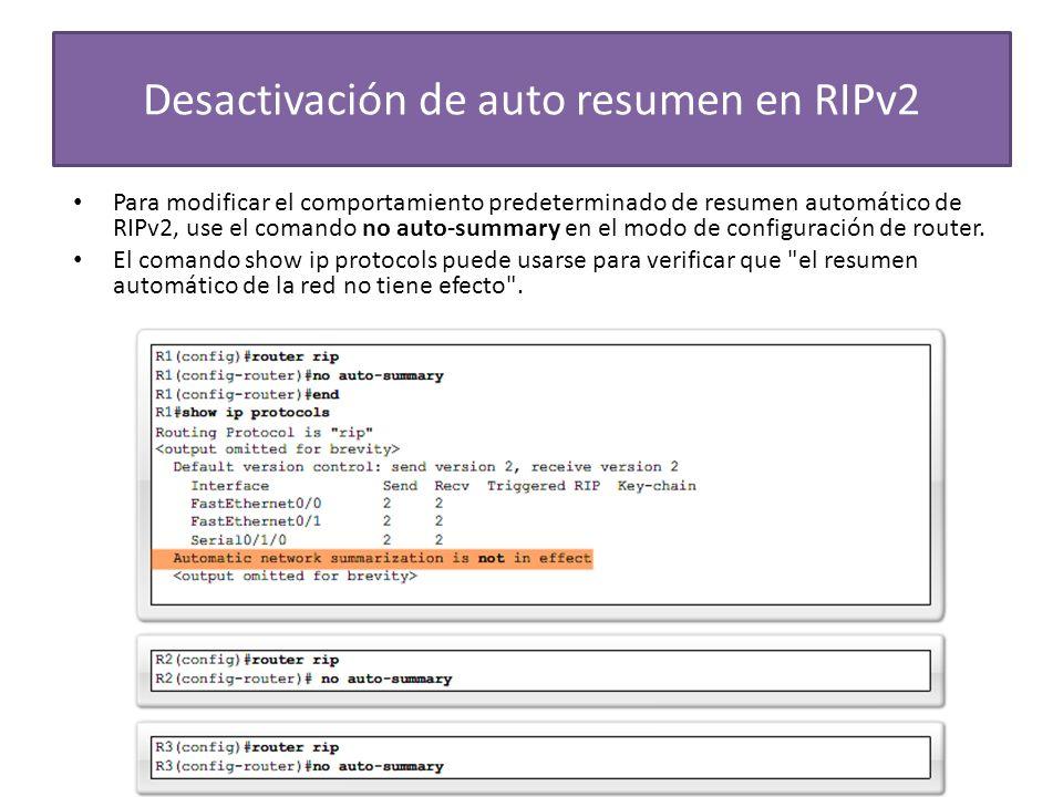 Desactivación de auto resumen en RIPv2