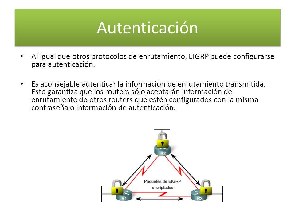 Autenticación Al igual que otros protocolos de enrutamiento, EIGRP puede configurarse para autenticación.