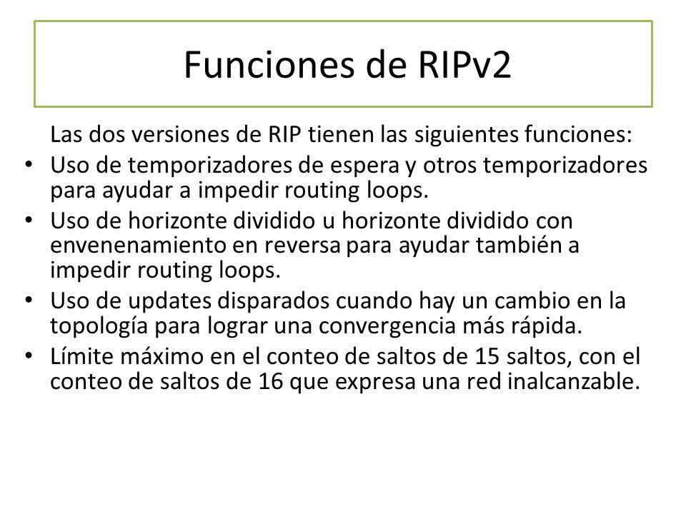 Funciones de RIPv2 Las dos versiones de RIP tienen las siguientes funciones: