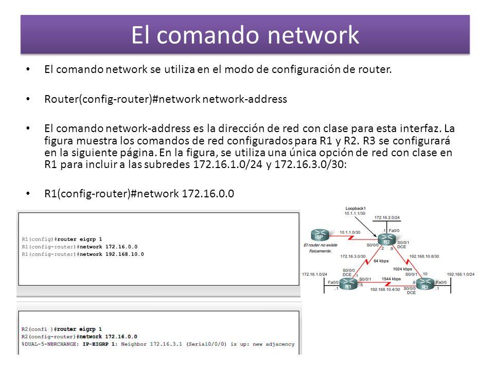 El comando network El comando network se utiliza en el modo de configuración de router. Router(config-router)#network network-address.