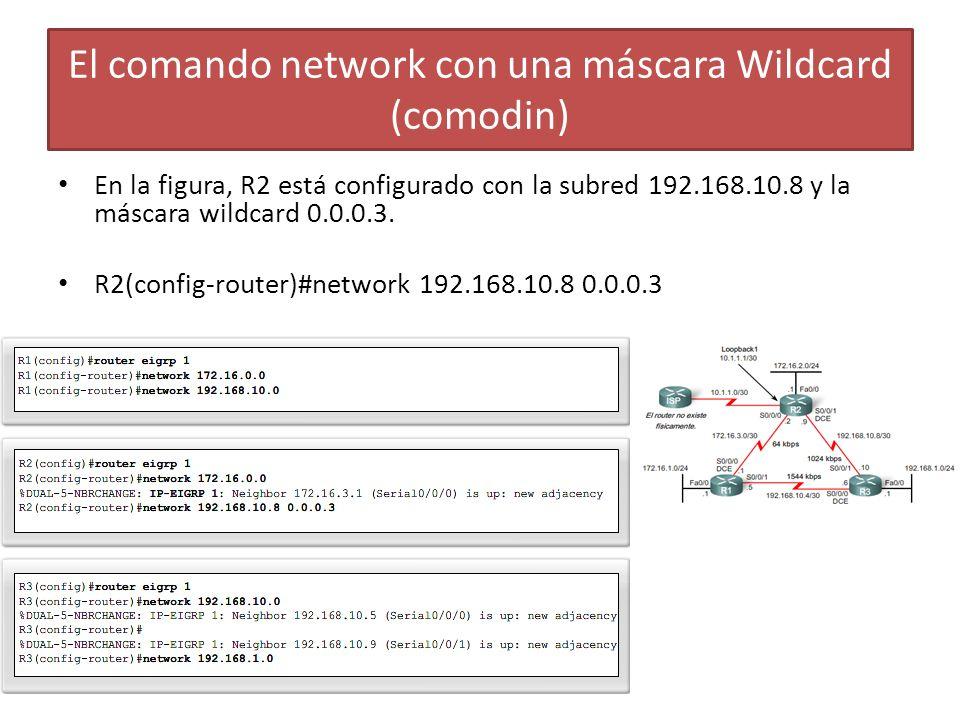 El comando network con una máscara Wildcard (comodin)