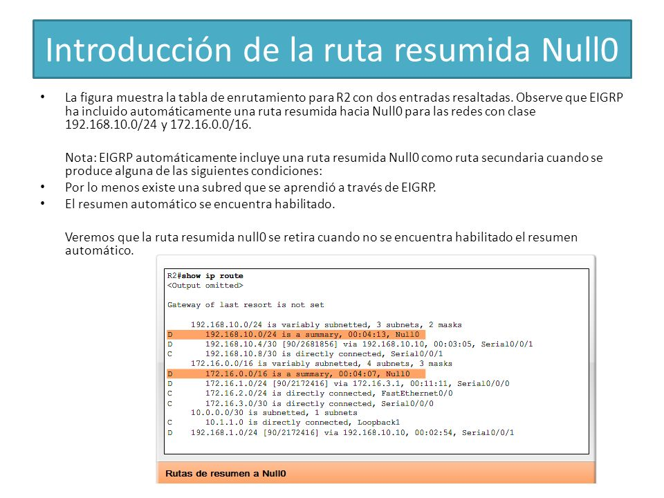 Introducción de la ruta resumida Null0