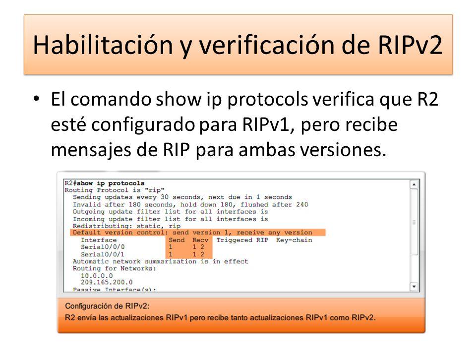 Habilitación y verificación de RIPv2