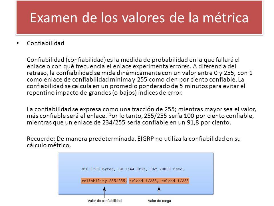 Examen de los valores de la métrica