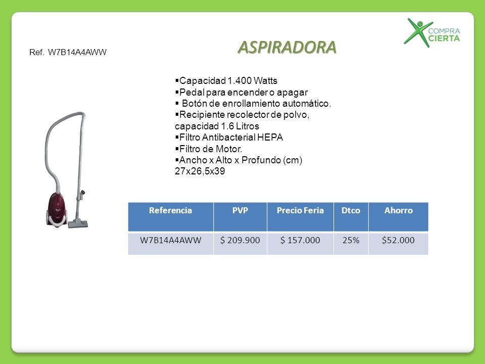 ASPIRADORA Capacidad 1.400 Watts Pedal para encender o apagar