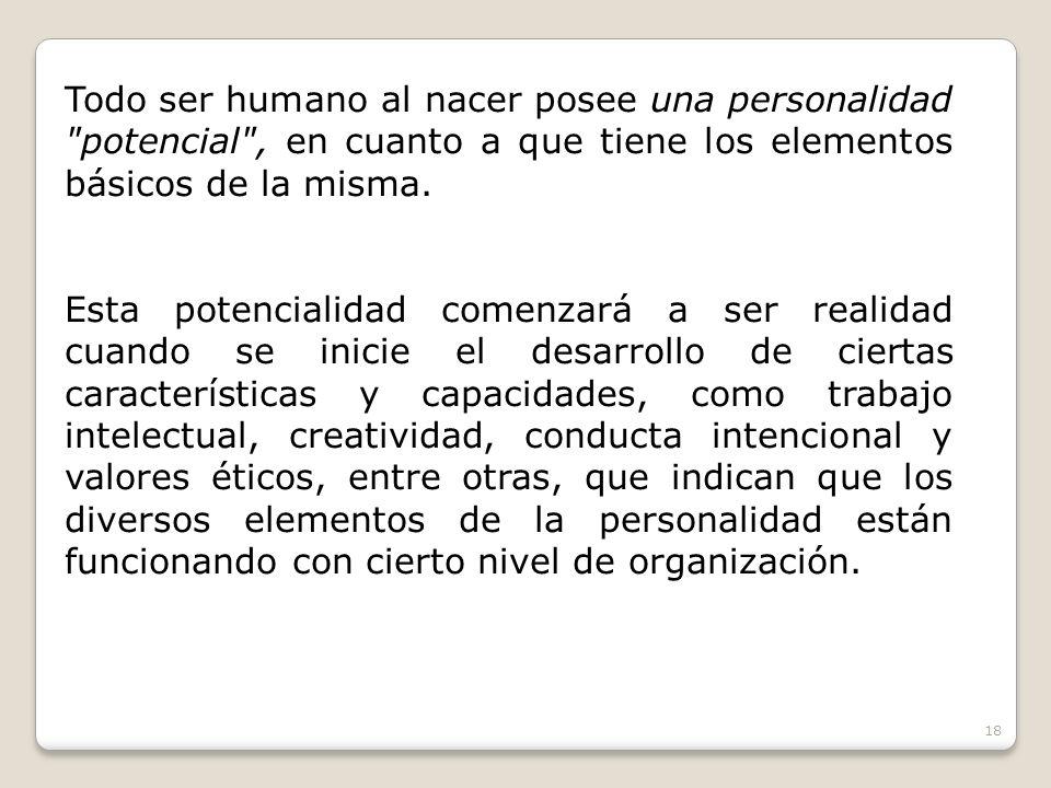 Todo ser humano al nacer posee una personalidad potencial , en cuanto a que tiene los elementos básicos de la misma.