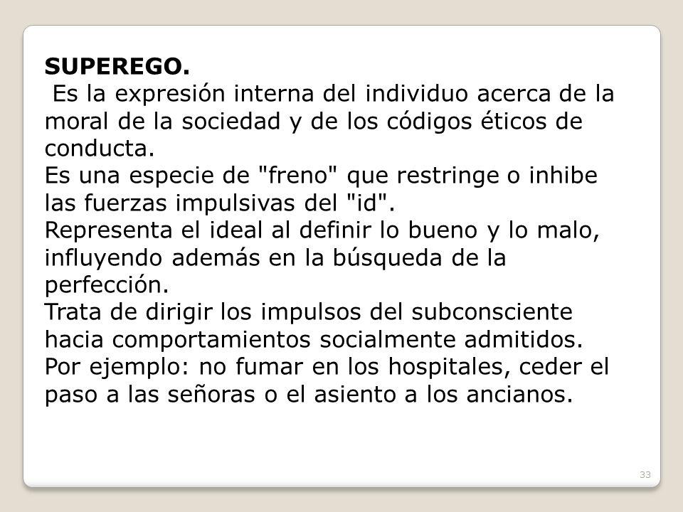 SUPEREGO. Es la expresión interna del individuo acerca de la moral de la sociedad y de los códigos éticos de conducta.