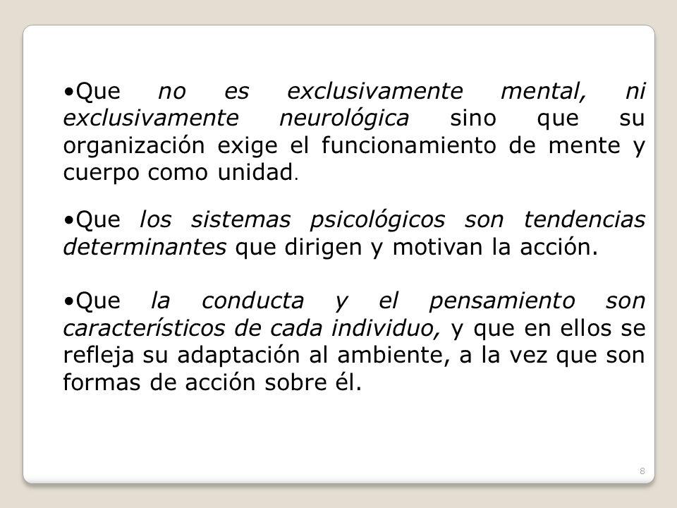 Que no es exclusivamente mental, ni exclusivamente neurológica sino que su organización exige el funcionamiento de mente y cuerpo como unidad.