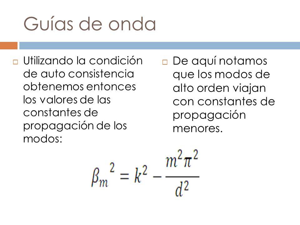 Guías de onda Utilizando la condición de auto consistencia obtenemos entonces los valores de las constantes de propagación de los modos: