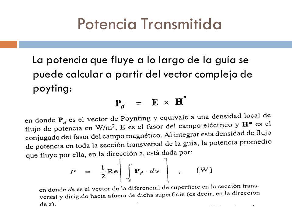 Potencia Transmitida La potencia que fluye a lo largo de la guía se puede calcular a partir del vector complejo de poyting: