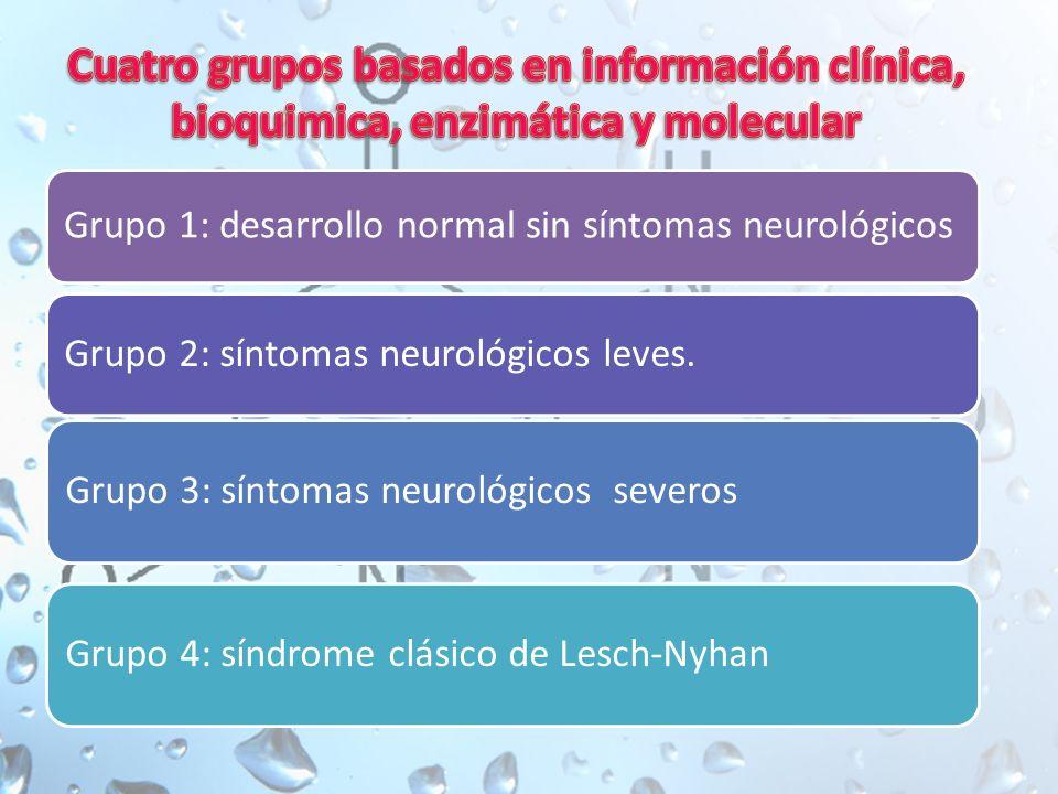 Cuatro grupos basados en información clínica, bioquimica, enzimática y molecular