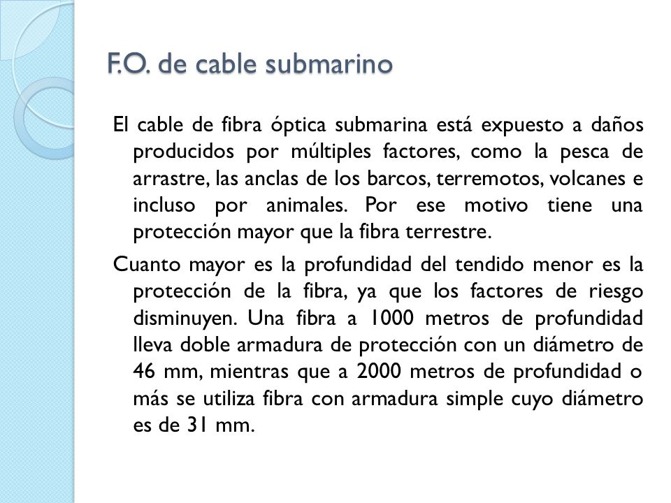 F.O. de cable submarino