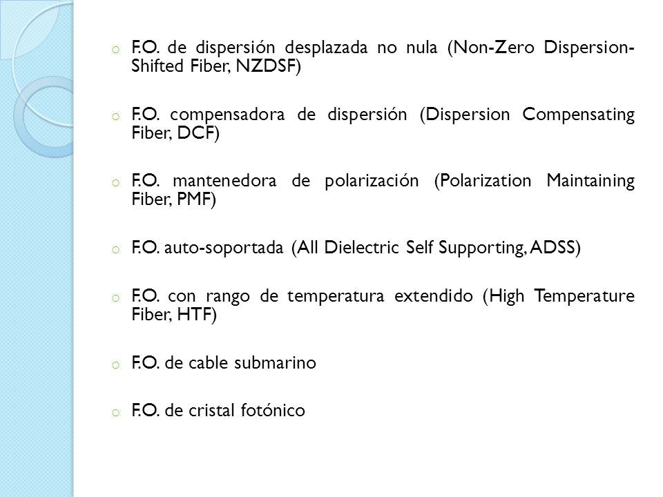 F.O. de dispersión desplazada no nula (Non-Zero Dispersion- Shifted Fiber, NZDSF)