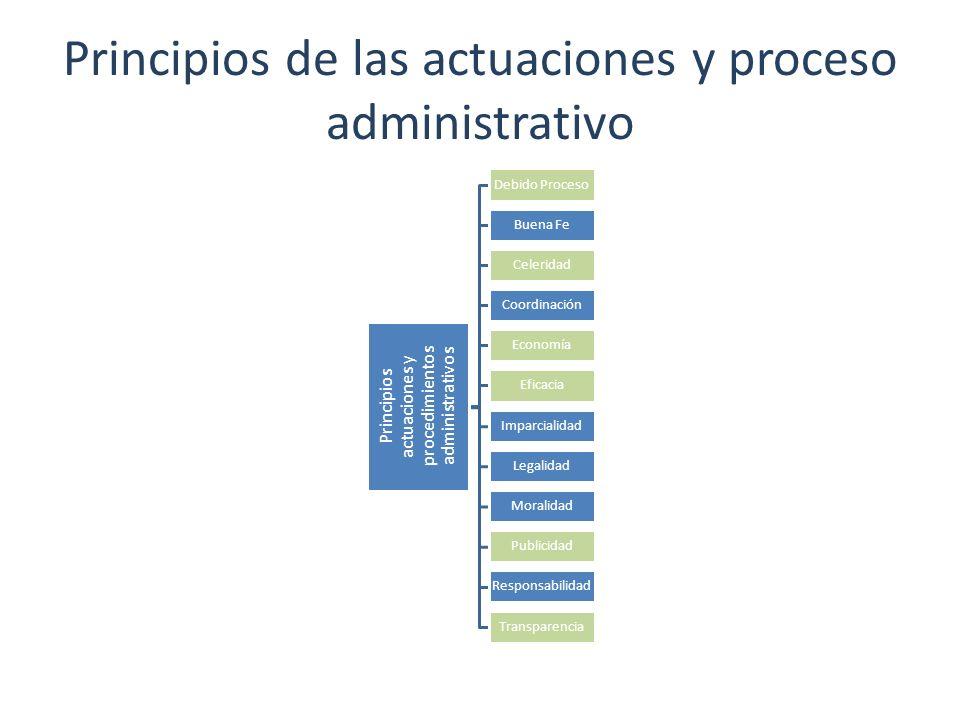 Principios de las actuaciones y proceso administrativo