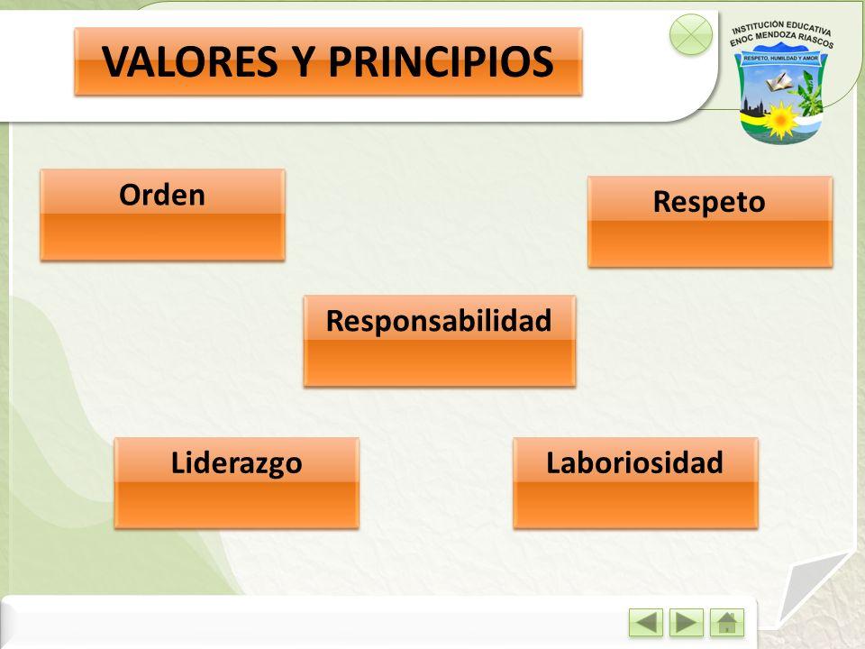 VALORES Y PRINCIPIOS Orden Respeto Responsabilidad Liderazgo