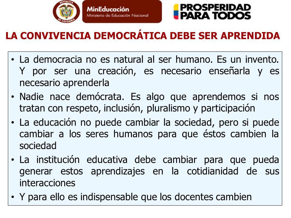 LA CONVIVENCIA DEMOCRÁTICA DEBE SER APRENDIDA