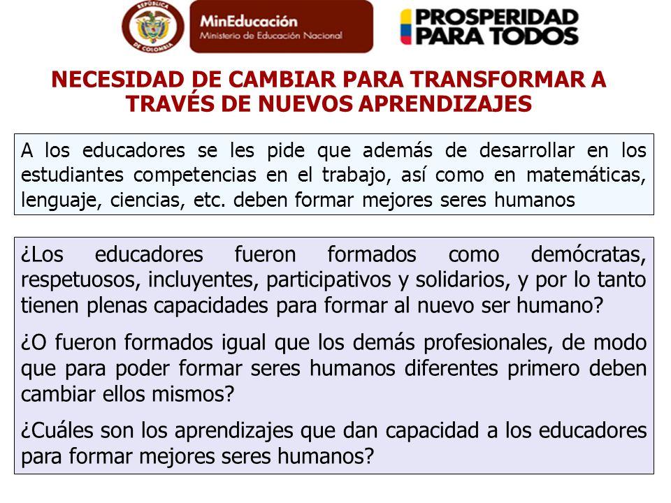 NECESIDAD DE CAMBIAR PARA TRANSFORMAR A TRAVÉS DE NUEVOS APRENDIZAJES