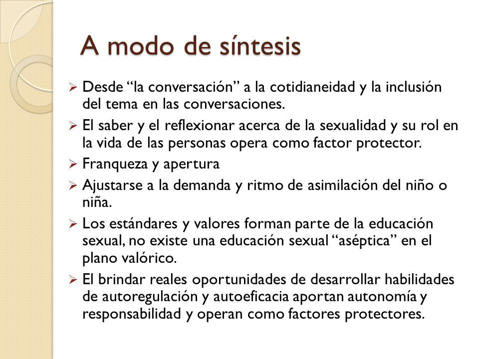 A modo de síntesis Desde la conversación a la cotidianeidad y la inclusión del tema en las conversaciones.