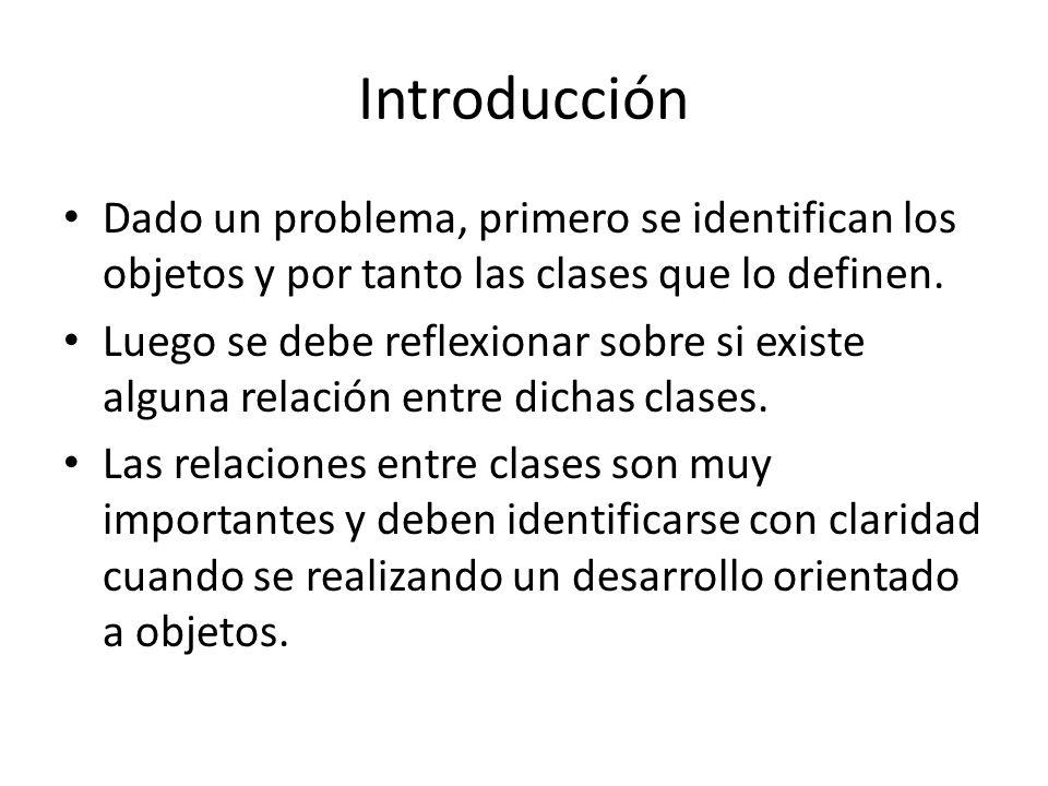 Introducción Dado un problema, primero se identifican los objetos y por tanto las clases que lo definen.
