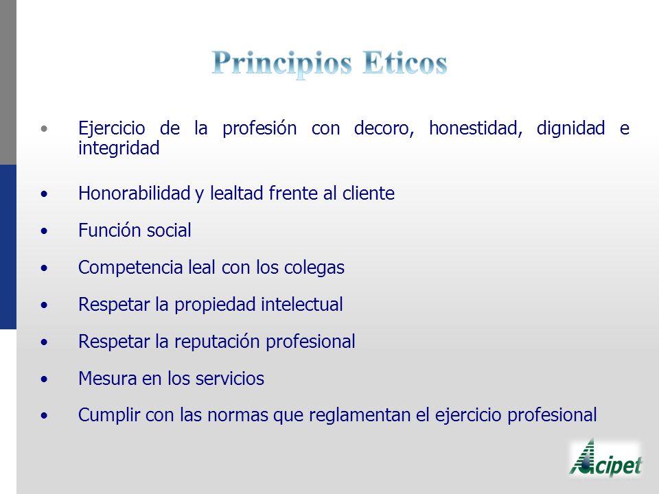 Principios Eticos Ejercicio de la profesión con decoro, honestidad, dignidad e integridad. Honorabilidad y lealtad frente al cliente.