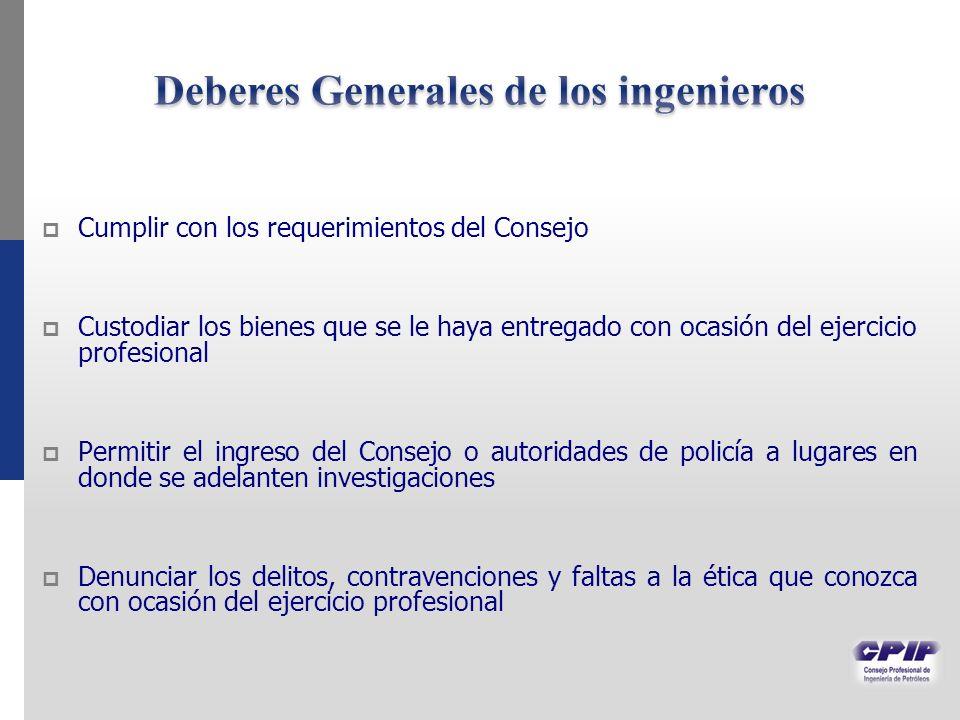 Deberes Generales de los ingenieros