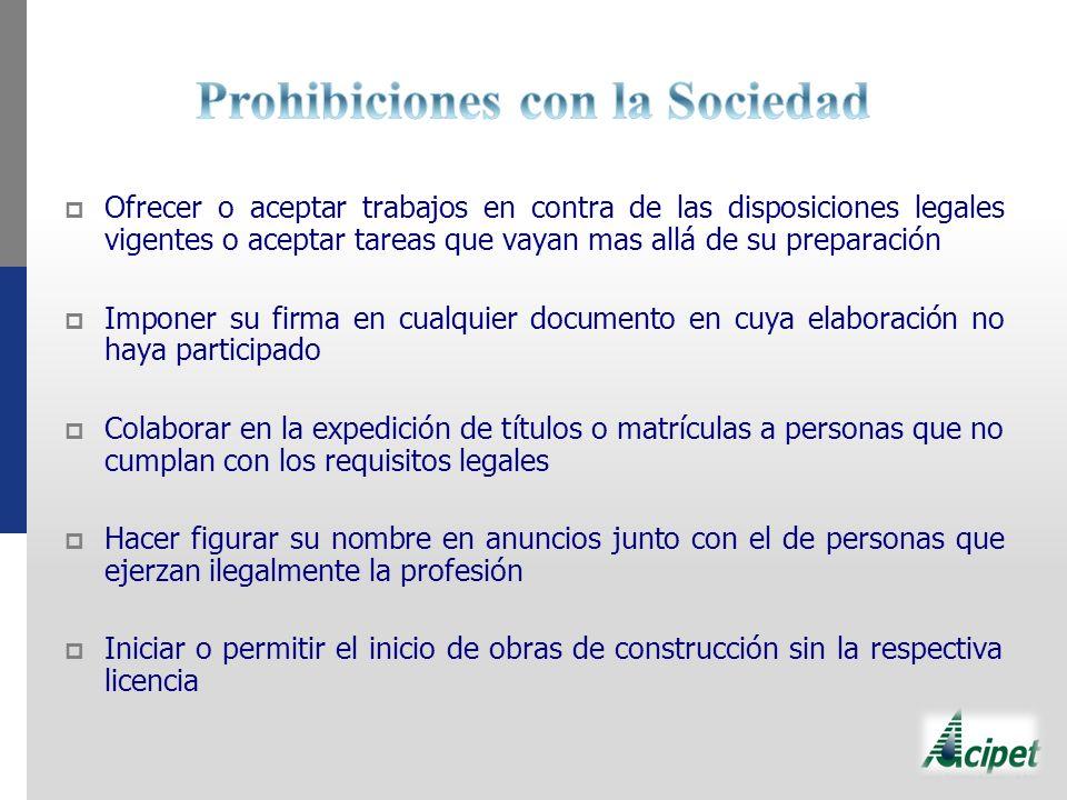 Prohibiciones con la Sociedad