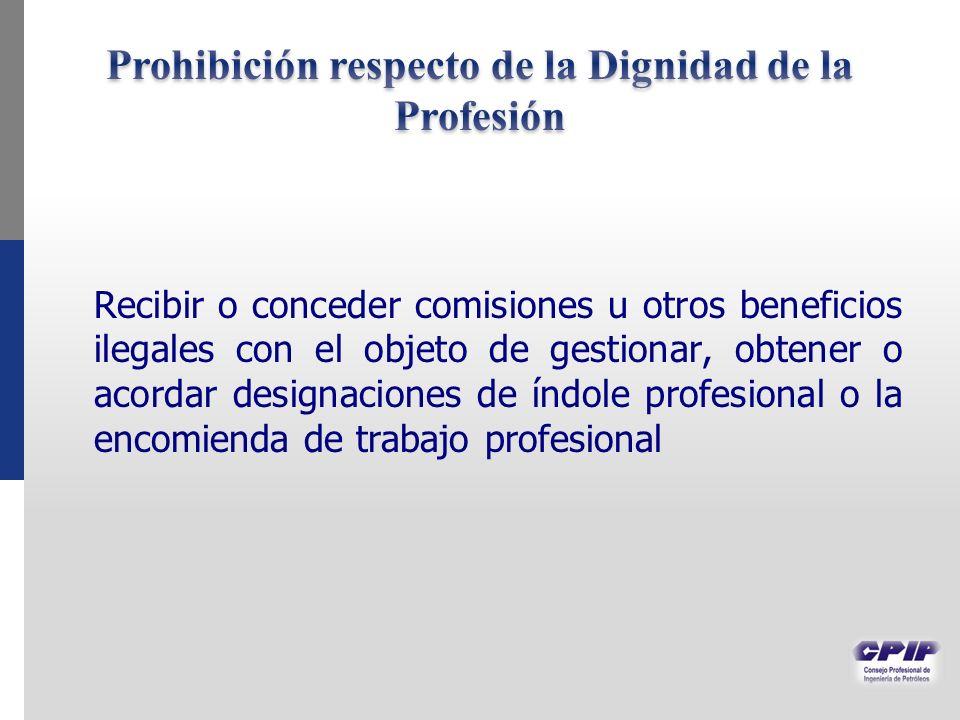 Prohibición respecto de la Dignidad de la Profesión