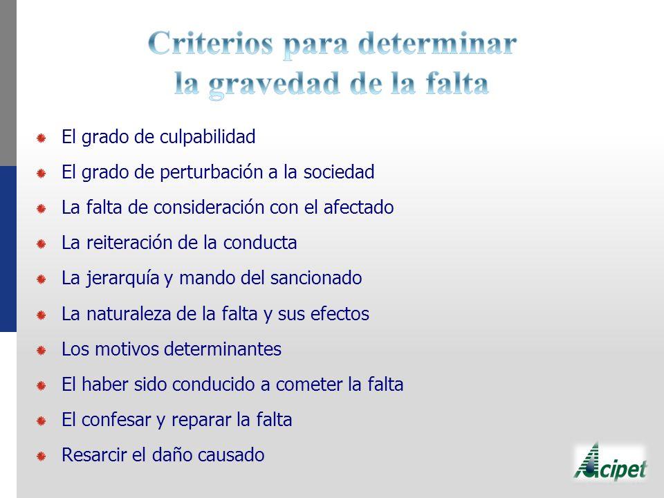 Criterios para determinar la gravedad de la falta