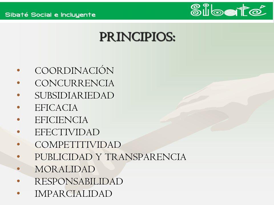 PRINCIPIOS: COORDINACIÓN CONCURRENCIA SUBSIDIARIEDAD EFICACIA