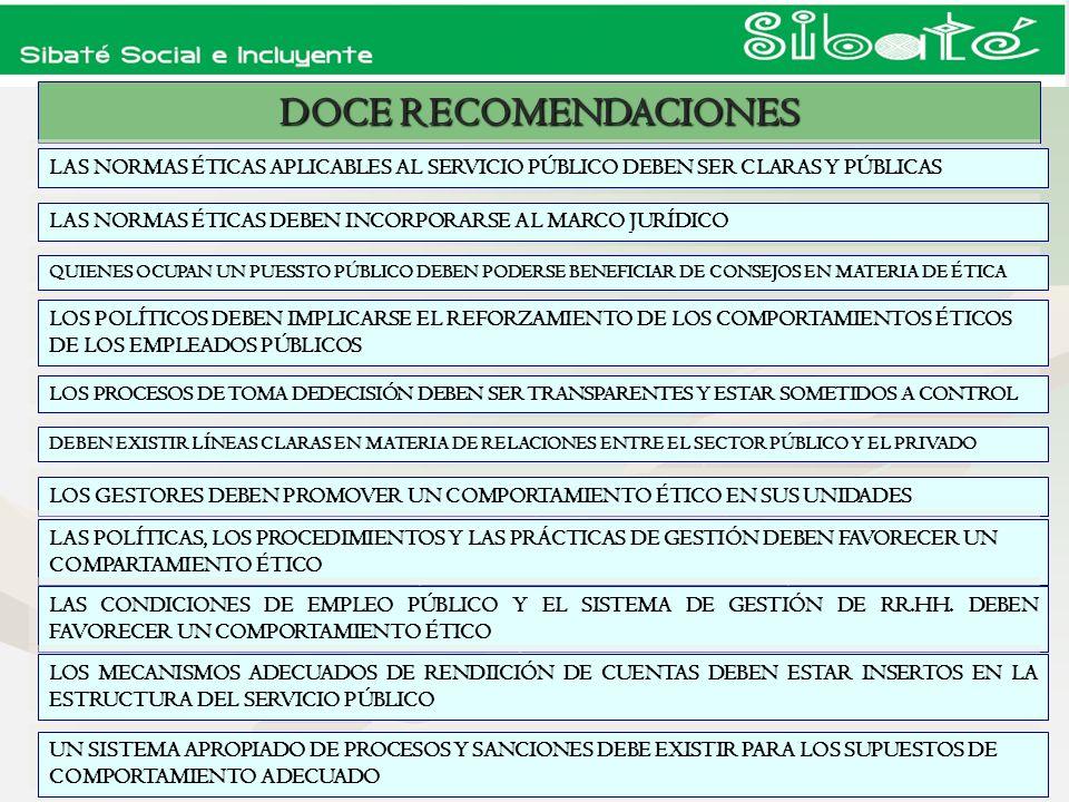 DOCE RECOMENDACIONES LAS NORMAS ÉTICAS APLICABLES AL SERVICIO PÚBLICO DEBEN SER CLARAS Y PÚBLICAS.