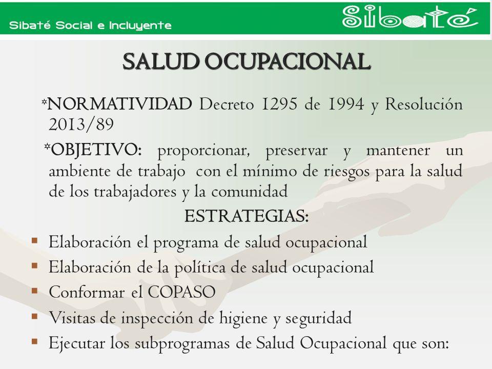 SALUD OCUPACIONAL *NORMATIVIDAD Decreto 1295 de 1994 y Resolución 2013/89.