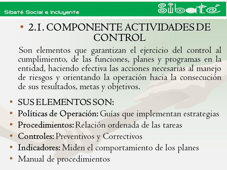 2.1. COMPONENTE ACTIVIDADES DE CONTROL