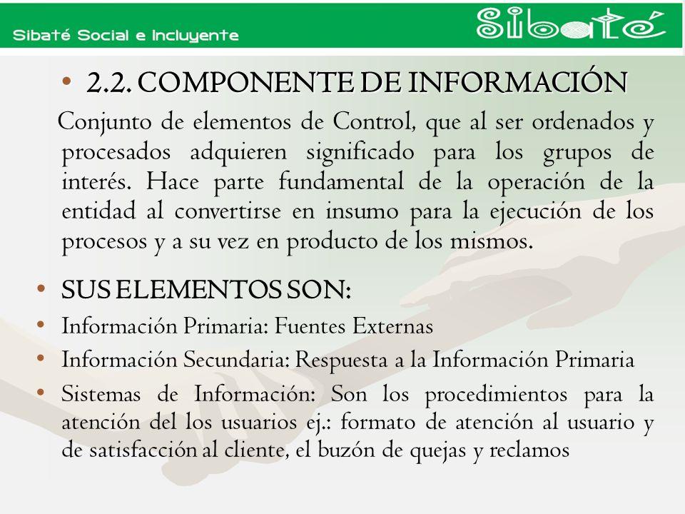 2.2. COMPONENTE DE INFORMACIÓN