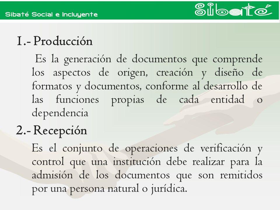 1.- Producción 2.- Recepción