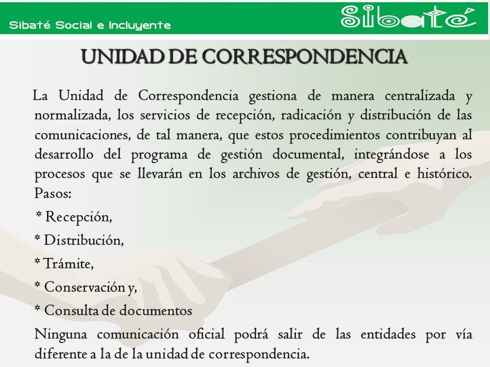 UNIDAD DE CORRESPONDENCIA