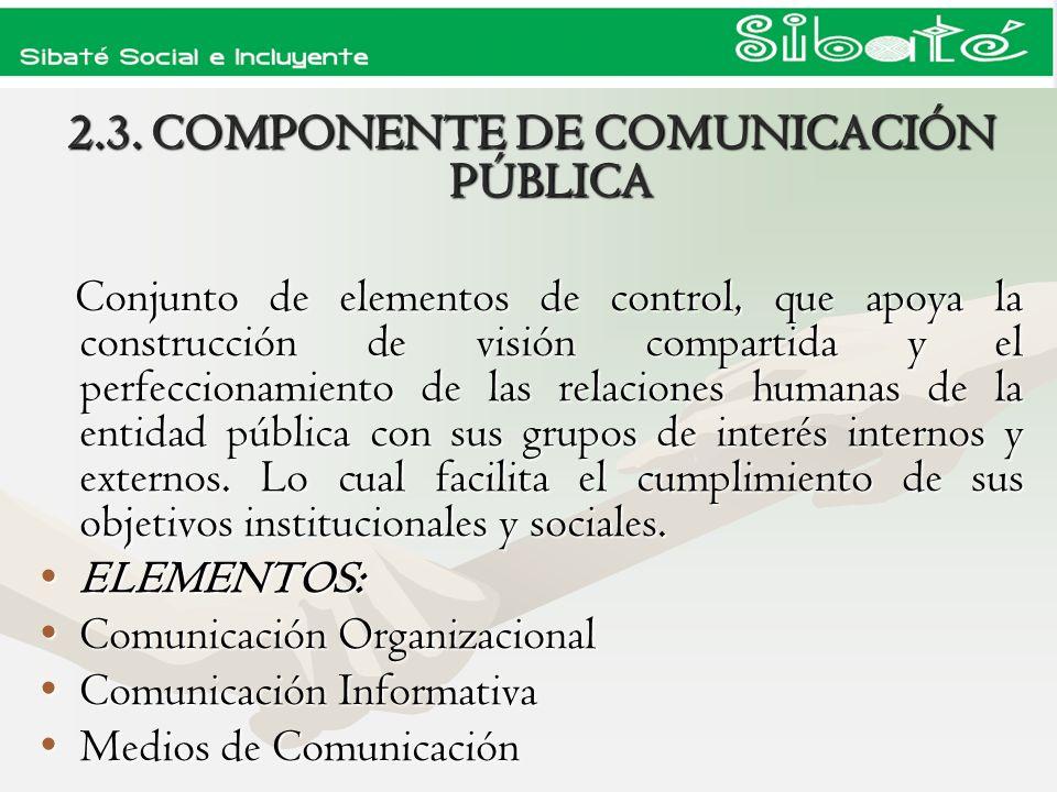 2.3. COMPONENTE DE COMUNICACIÓN PÚBLICA