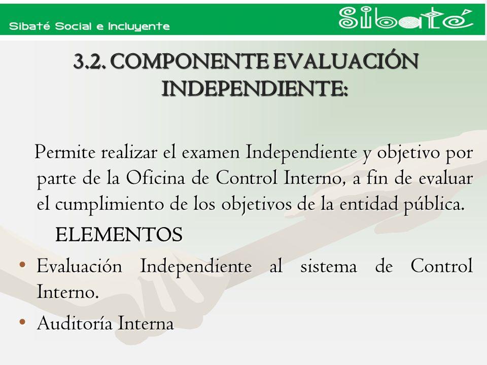 3.2. COMPONENTE EVALUACIÓN INDEPENDIENTE: