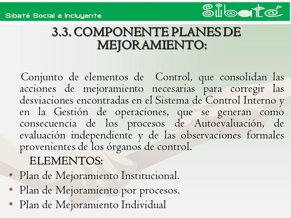 3.3. COMPONENTE PLANES DE MEJORAMIENTO: