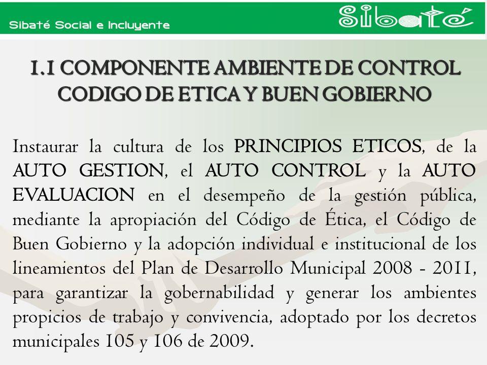 1.1 COMPONENTE AMBIENTE DE CONTROL CODIGO DE ETICA Y BUEN GOBIERNO