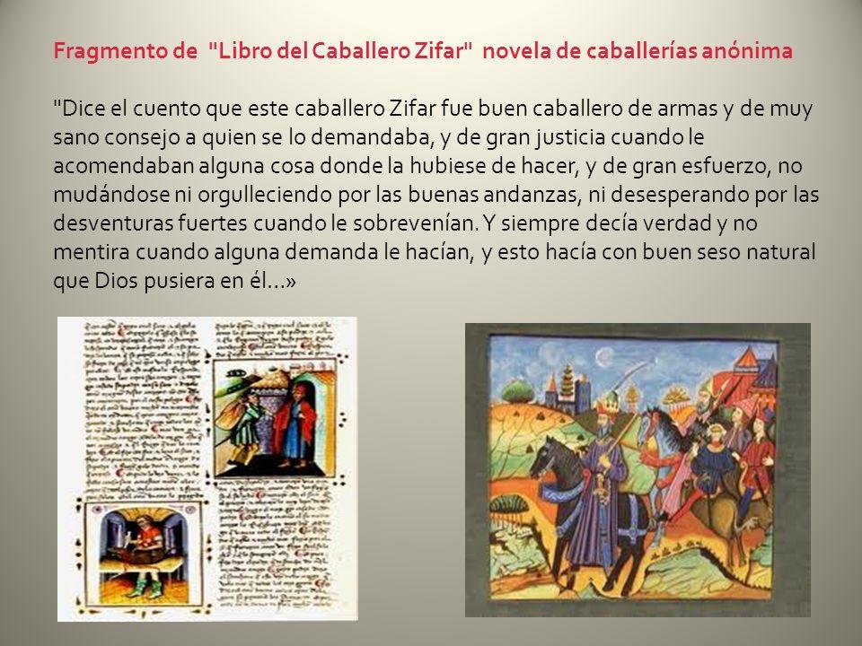 Fragmento de Libro del Caballero Zifar novela de caballerías anónima